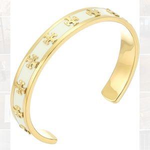 Tory Burch enamel raised-logo cuff bracelet